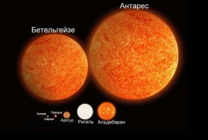 По сравнению со звездами-гигантами наше Солнце настоящий карлик.